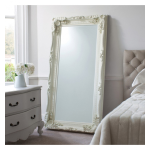 Carved Louis Leaner Cream French Style Mirror