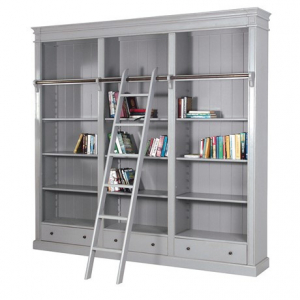 Chamonix Grey Library Bookcase with Ladder