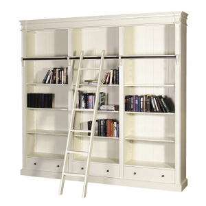 Chantilly Large Cream French Bookcase with Ladder