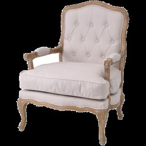 Cream Linen Button Back French Armchair