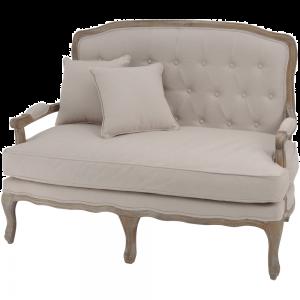 Cream Linen Button Back French Sofa