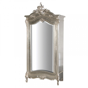 Fleur Silver French Mirrored Armoire