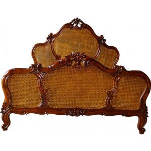 French Louis XV Rattan Bed - Mid Mahogany