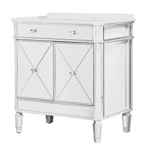 French Silver Mirrored Vanity Cabinet