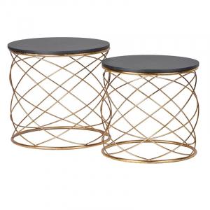 Set of 2 Gold Loop Side Tables