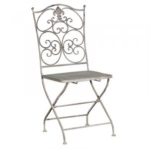 Grey-Wash Metal Folding Garden Chair