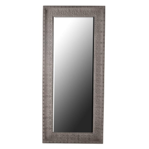 Large Grey Embossed Metal Mirror