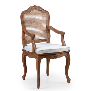 Louis French Armchair - finished in Light Oak Ceruse frame colour & Vintage Cream Linen fabric