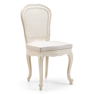 Louis French Oval Cane Back Dining Chair / Finished in Smoke frame & Makeda fabric