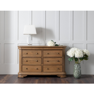 French Louis Philippe Weathered Sleigh 9 Drawer Bedroom Chest