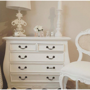 Antique White Provencale French Bombe Chest of Drawers
