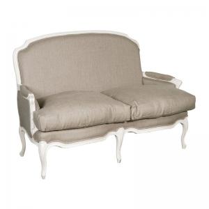 Provencale Antique White French Linen 2 Seat Sofa
