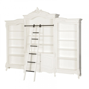 Provencale Antique White French Triple Bookcase With Ladder