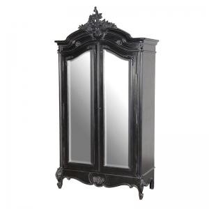 Rochelle Noir 2 Door French Mirrored Armoire