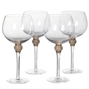 s/4 gold crystal gin glasses