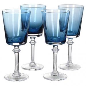 Set of 4 Blue Wine Glasses