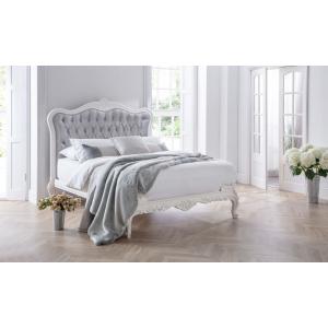 Antique White - Ashton Silver Velvet Fabric