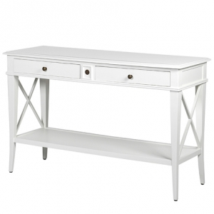 White Cross Console Table