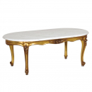 Gilt Versailles French Coffee Table With Marble Top