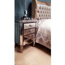 Antique Gold French Bed - with Antique Gold Mirrored Bedside Table