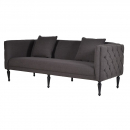 Black Buttoned 3 Seater Sofa