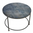 Blue Pattern Glass Top Glass Coffee Table Angled View