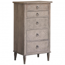 Camille French Style Weathered 5 Drawer Tall Chest