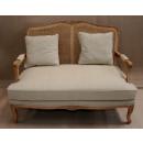 Louis Rattan Sofa in Almond Fabric