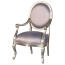 Fleur Silver French Armchair with Lilac Silk fabric