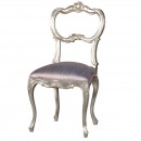 Fleur Silver French Bedroom Chair / with Silk fabric