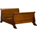 French Exotic Sleigh Bed - Mid mahogany