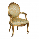 Gold Leaf Versailles Green/ Blue Nursing Armchair
