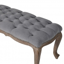 Upholstered Grey Bench - Close Up