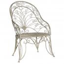 Grey-Wash Metal High Back Garden Chair