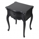 Rochelle Noir French Bedside Table with Marble Top