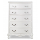Ivory French Inspired 5 Drawer Tall Chest