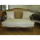 Louis Sofa in Vintage Creme Linen Fabric