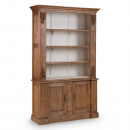 Louis French Large Bookcase / Display Cabinet - finished in Old Wood outside & Champagne Inside