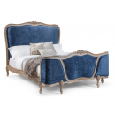 Louis French Upholstered Corbeille Bed / Finished in Alden Ceruse frame & Ashton Midnight Navy fabric