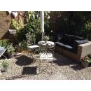 Grey-Wash Round Metal Garden Table - Set Image