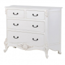Provencale Antique White French Carved 4 Chest of Drawers