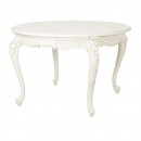 Provencale Antique White Carved Round French Dining Table