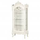 Antique White Provencale French Heavy Carved Display Cabinet