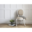 Provencale Antique White French Linen Ribbon Dining Chair