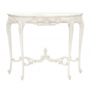 Antique White Provencale French Carved Console Table