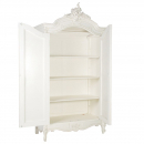 Antique White Provencale French 2 Door Armoire - Inside View