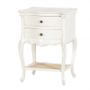 French Antique White Provencale Bedside Table with Rattan Shelf