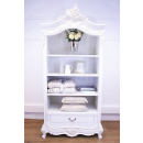 Provencale Antique White Open French Bookcase With Drawer