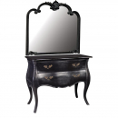 Rochelle Noir 2 Rochelle Noir 2 Drawer Chest coupled with Overmantle Mirror - View