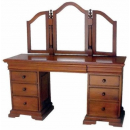 Sleigh Dressing Table with Stool - Mid Mahogany
